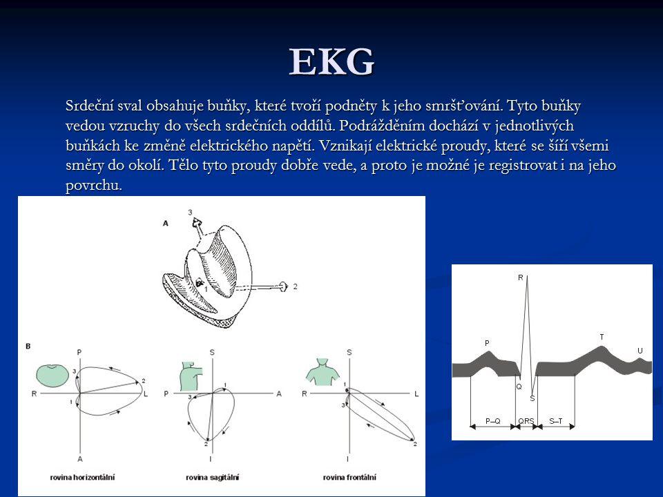 EKG Srdeční sval obsahuje buňky, které tvoří podněty k jeho smršťování. Tyto buňky vedou vzruchy do všech srdečních oddílů. Podrážděním dochází v jedn