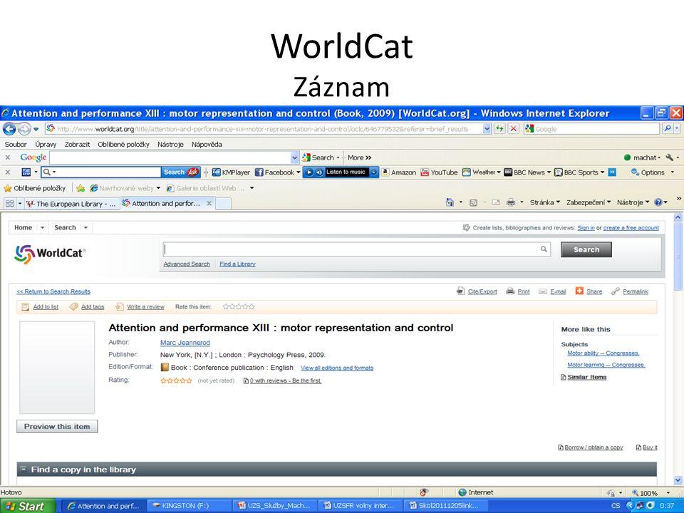 WorldCat Možnost vyhledávání článků