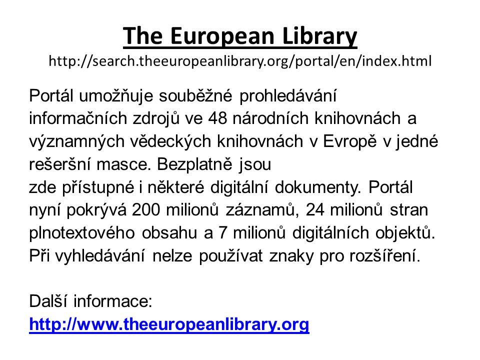 The European Library Jednoduché vyhledávání