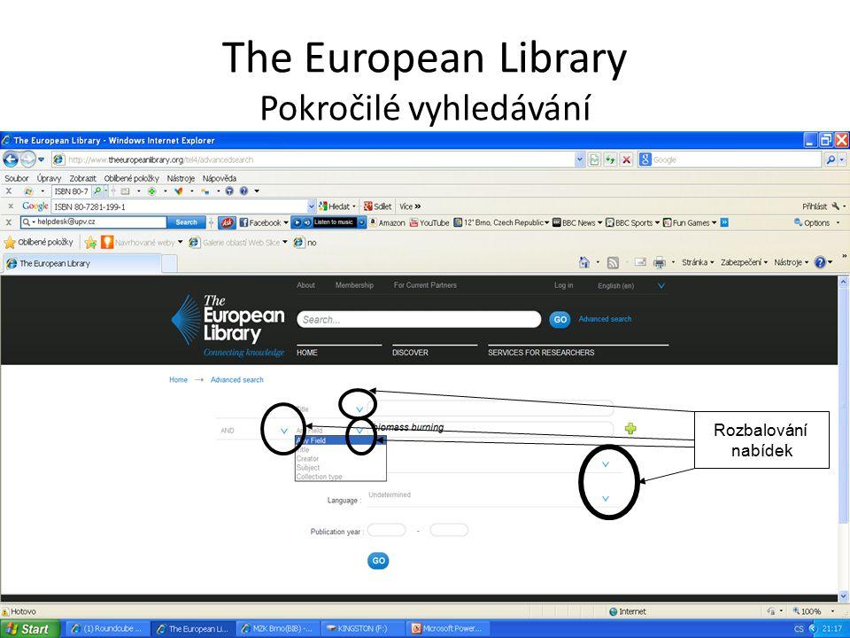The European Library Seznam výsledků Možnost zúžení dotazu