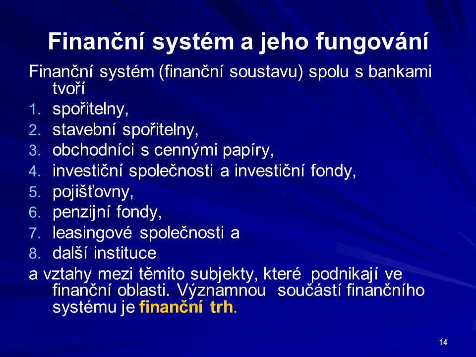 14 Finanční systém a jeho fungování Finanční systém (finanční soustavu) spolu s bankami tvoří 1. 1. spořitelny, 2. 2. stavební spořitelny, 3. 3. obcho