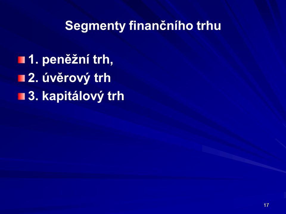 17 Segmenty finančního trhu 1. peněžní trh, 2. úvěrový trh 3. kapitálový trh