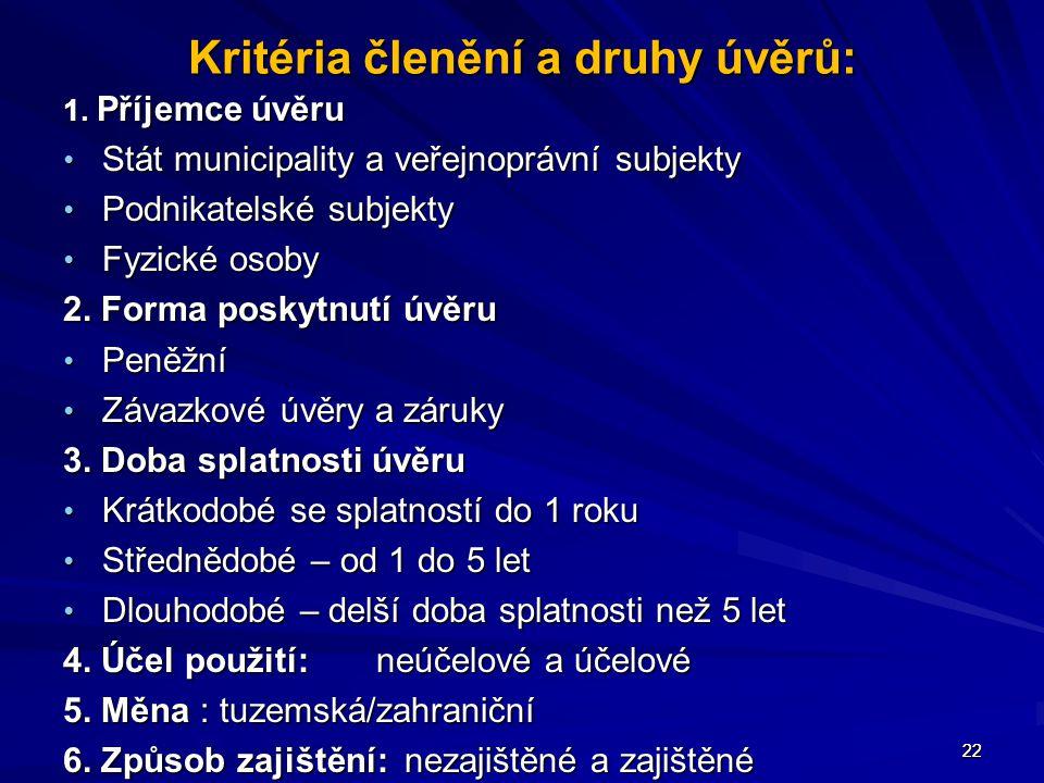 22 Kritéria členění a druhy úvěrů: 1. Příjemce úvěru Stát municipality a veřejnoprávní subjekty Stát municipality a veřejnoprávní subjekty Podnikatels
