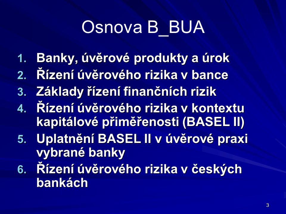 3 Osnova B_BUA 1. Banky, úvěrové produkty a úrok 2. Řízení úvěrového rizika v bance 3. Základy řízení finančních rizik 4. Řízení úvěrového rizika v ko