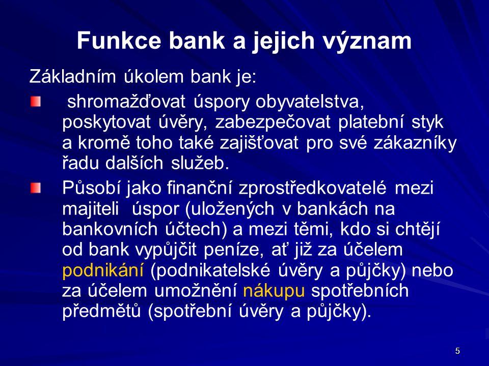 5 Funkce bank a jejich význam Základním úkolem bank je: shromažďovat úspory obyvatelstva, poskytovat úvěry, zabezpečovat platební styk a kromě toho ta