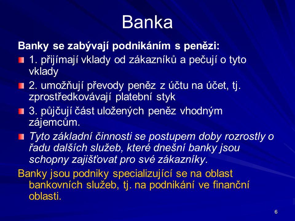 27 Eskontní úvěr Krátkodobý úvěr založený na odkupu (eskontu) směnky bankou.