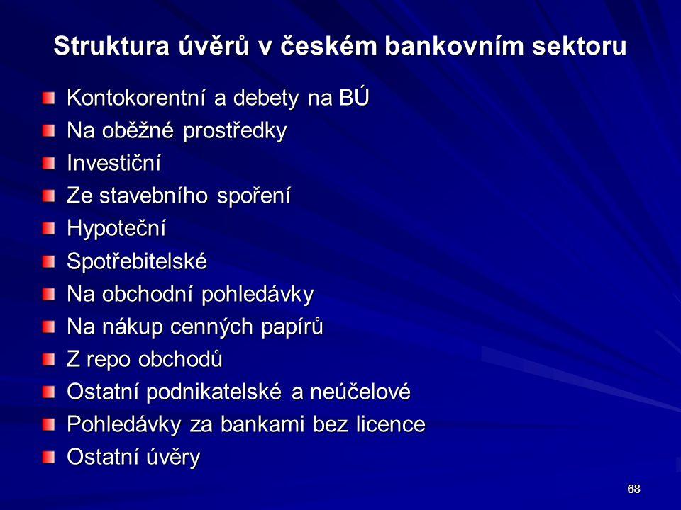 68 Struktura úvěrů v českém bankovním sektoru Kontokorentní a debety na BÚ Na oběžné prostředky Investiční Ze stavebního spoření HypotečníSpotřebitels
