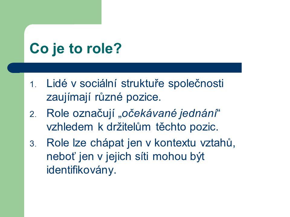 """Co je to role? 1. Lidé v sociální struktuře společnosti zaujímají různé pozice. 2. Role označují """"očekávané jednání"""" vzhledem k držitelům těchto pozic"""