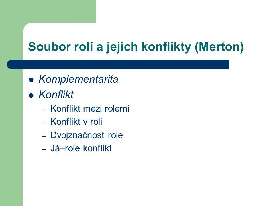 Soubor rolí a jejich konflikty (Merton) Komplementarita Konflikt – Konflikt mezi rolemi – Konflikt v roli – Dvojznačnost role – Já–role konflikt