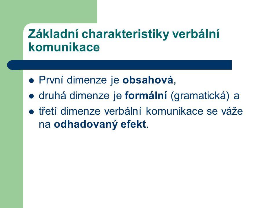 Základní charakteristiky verbální komunikace První dimenze je obsahová, druhá dimenze je formální (gramatická) a třetí dimenze verbální komunikace se