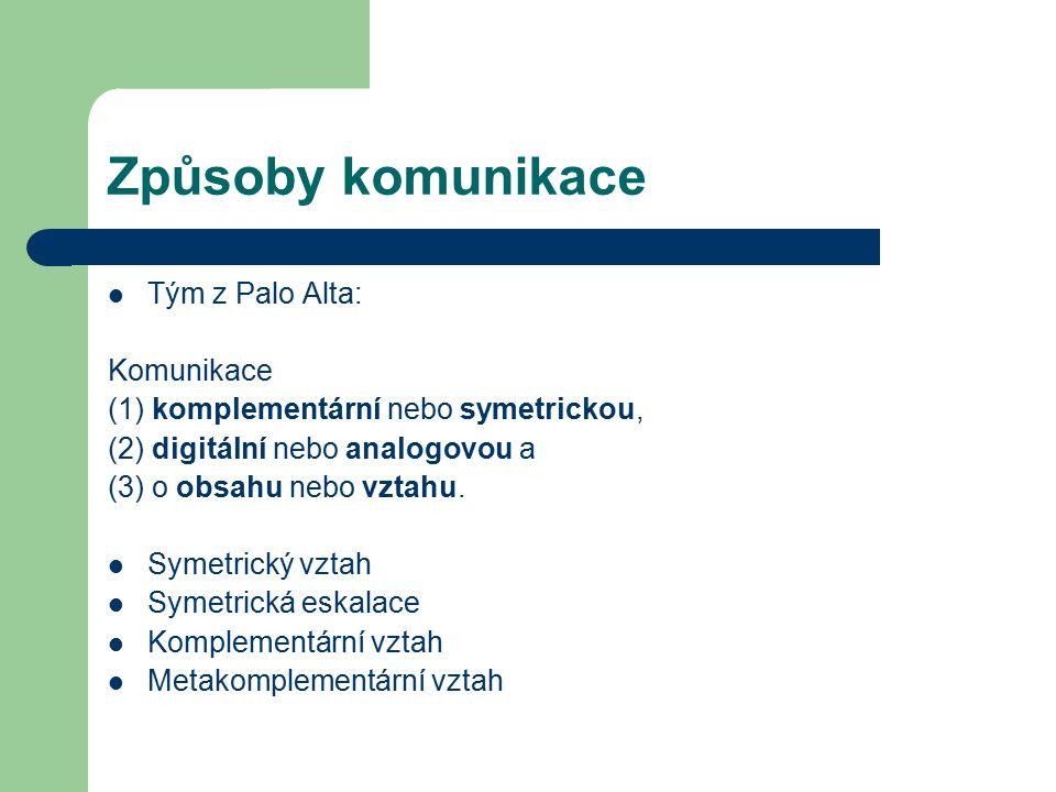 Způsoby komunikace Tým z Palo Alta: Komunikace (1) komplementární nebo symetrickou, (2) digitální nebo analogovou a (3) o obsahu nebo vztahu. Symetric