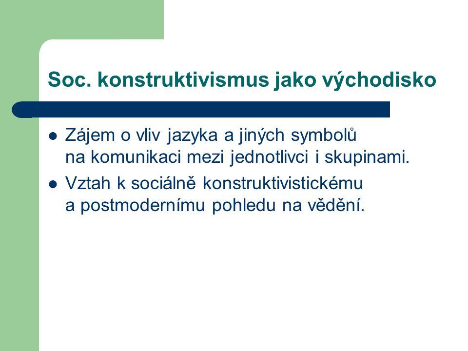 Soc. konstruktivismus jako východisko Zájem o vliv jazyka a jiných symbolů na komunikaci mezi jednotlivci i skupinami. Vztah k sociálně konstruktivist