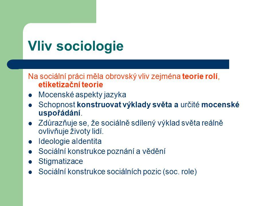 Vliv sociologie Na sociální práci měla obrovský vliv zejména teorie rolí, etiketizační teorie Mocenské aspekty jazyka Schopnost konstruovat výklady sv