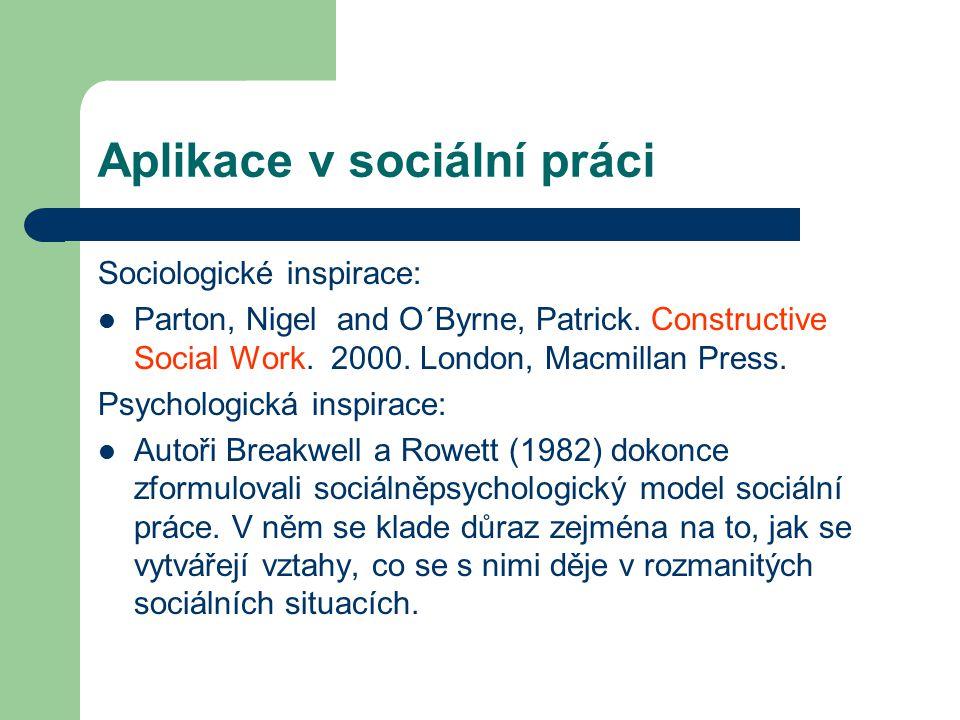 Aplikace v sociální práci Sociologické inspirace: Parton, Nigel and O´Byrne, Patrick. Constructive Social Work. 2000. London, Macmillan Press. Psychol