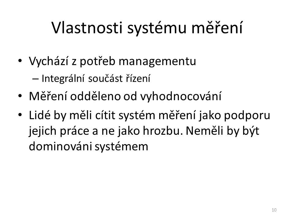 10 Vlastnosti systému měření Vychází z potřeb managementu – Integrální součást řízení Měření odděleno od vyhodnocování Lidé by měli cítit systém měřen