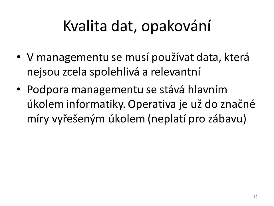 11 Kvalita dat, opakování V managementu se musí používat data, která nejsou zcela spolehlivá a relevantní Podpora managementu se stává hlavním úkolem