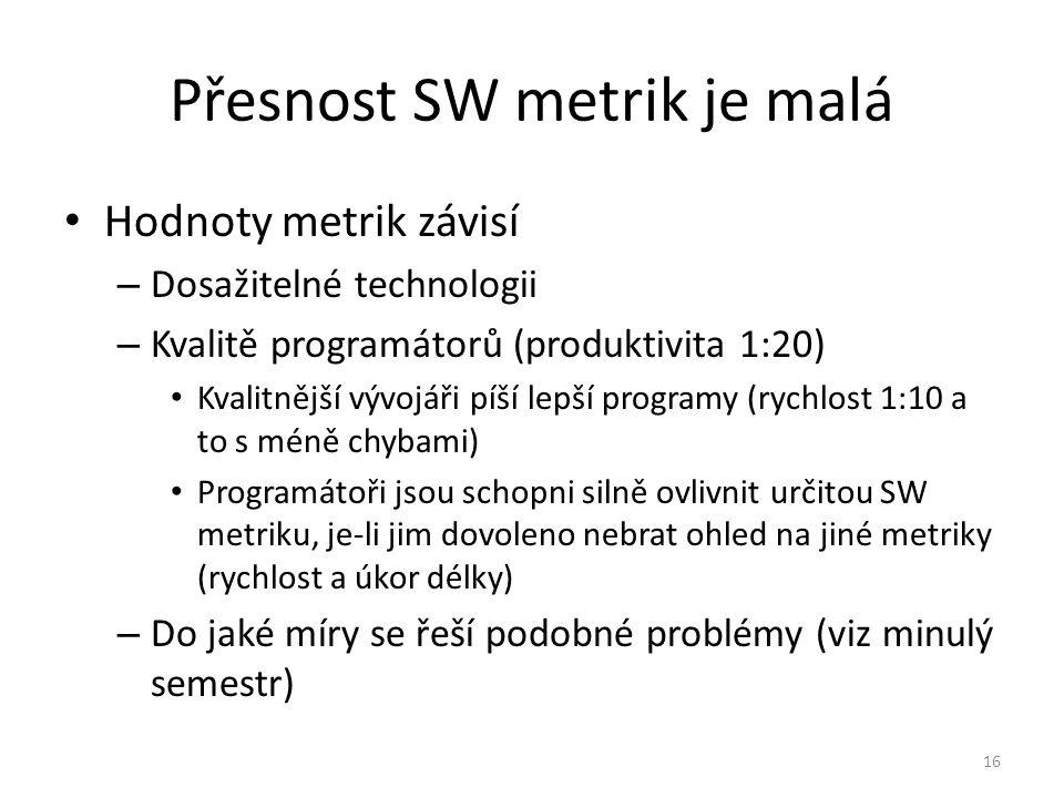 16 Přesnost SW metrik je malá Hodnoty metrik závisí – Dosažitelné technologii – Kvalitě programátorů (produktivita 1:20) Kvalitnější vývojáři píší lep