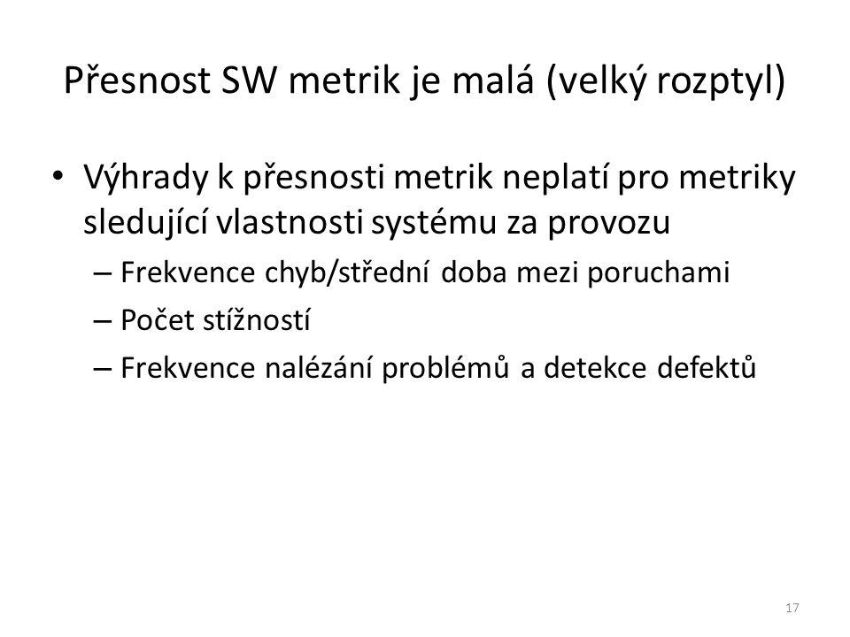 17 Přesnost SW metrik je malá (velký rozptyl) Výhrady k přesnosti metrik neplatí pro metriky sledující vlastnosti systému za provozu – Frekvence chyb/