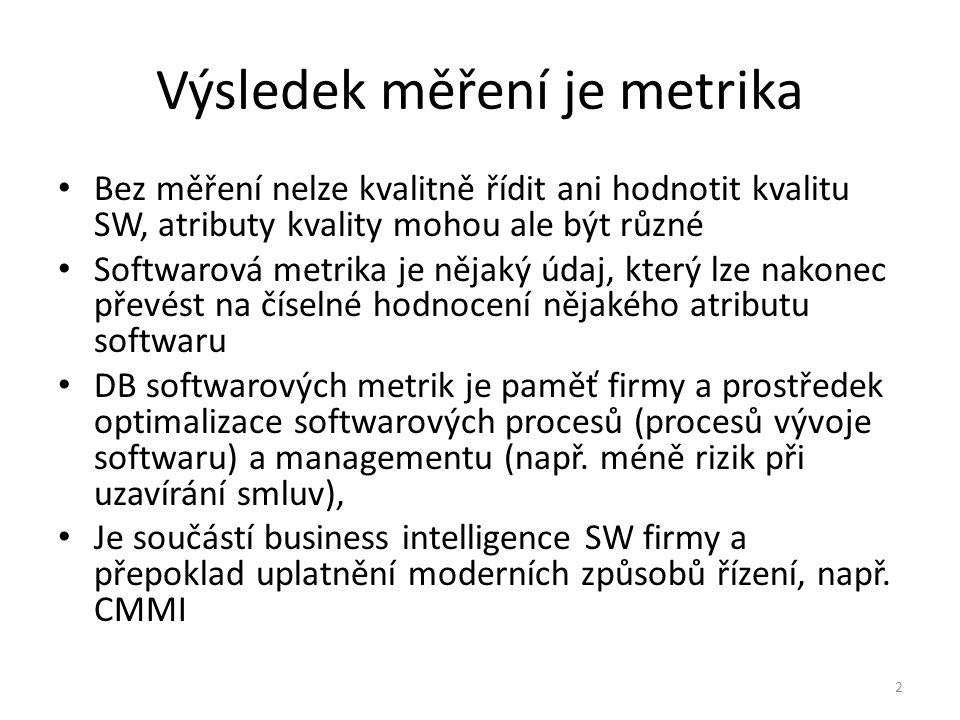2 Výsledek měření je metrika Bez měření nelze kvalitně řídit ani hodnotit kvalitu SW, atributy kvality mohou ale být různé Softwarová metrika je nějak