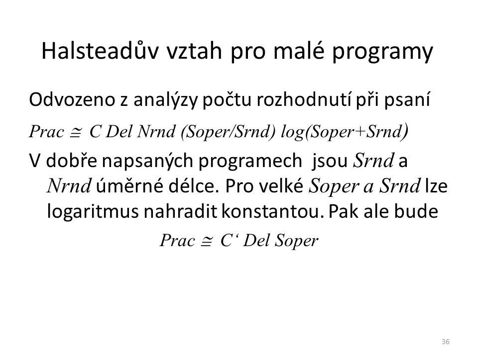 36 Halsteadův vztah pro malé programy Odvozeno z analýzy počtu rozhodnutí při psaní Prac  C Del Nrnd (Soper/Srnd) log(Soper+Srnd ) V dobře napsaných