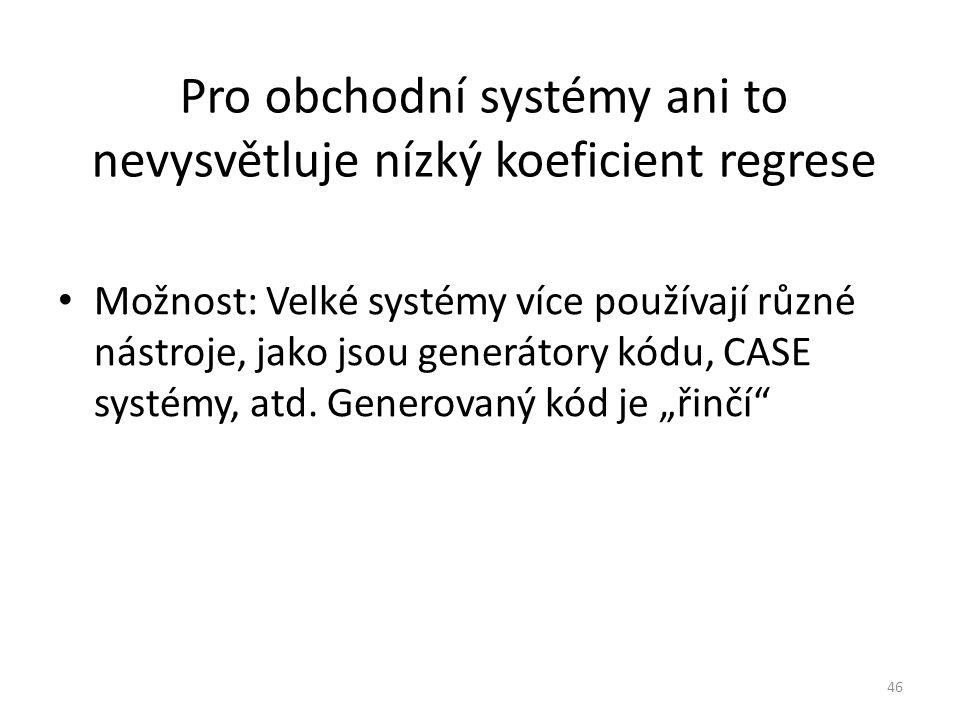 46 Pro obchodní systémy ani to nevysvětluje nízký koeficient regrese Možnost: Velké systémy více používají různé nástroje, jako jsou generátory kódu,