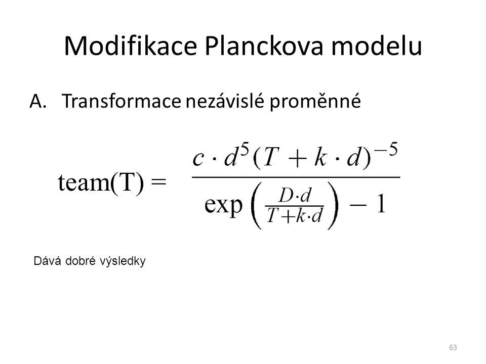 63 Modifikace Planckova modelu A.Transformace nezávislé proměnné team(T) = Dává dobré výsledky