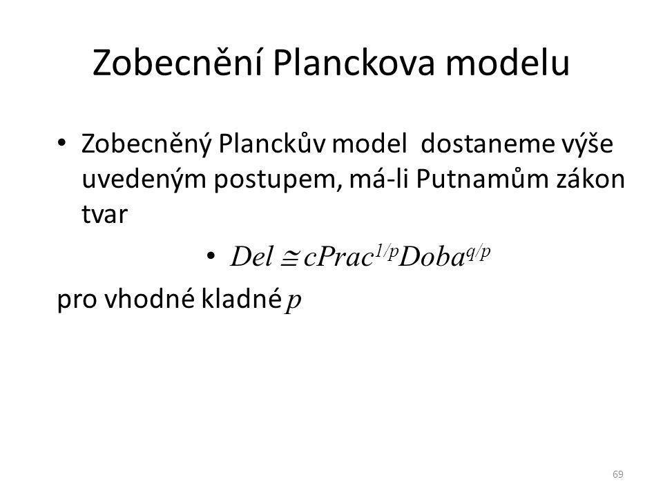69 Zobecnění Planckova modelu Zobecněný Planckův model dostaneme výše uvedeným postupem, má-li Putnamům zákon tvar Del  cPrac 1/p Doba q/p pro vhodné