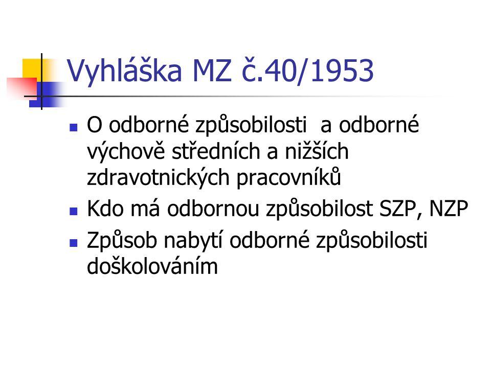 Vyhláška MZ č.40/1953 O odborné způsobilosti a odborné výchově středních a nižších zdravotnických pracovníků Kdo má odbornou způsobilost SZP, NZP Způs