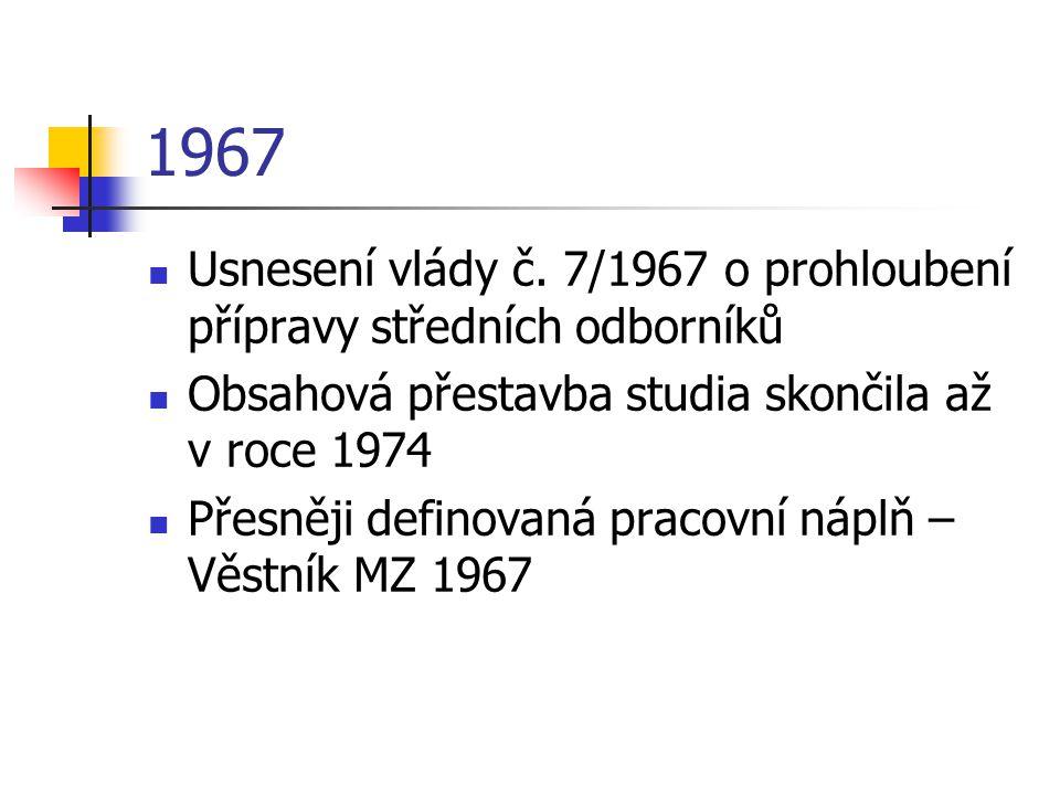 1967 Usnesení vlády č. 7/1967 o prohloubení přípravy středních odborníků Obsahová přestavba studia skončila až v roce 1974 Přesněji definovaná pracovn