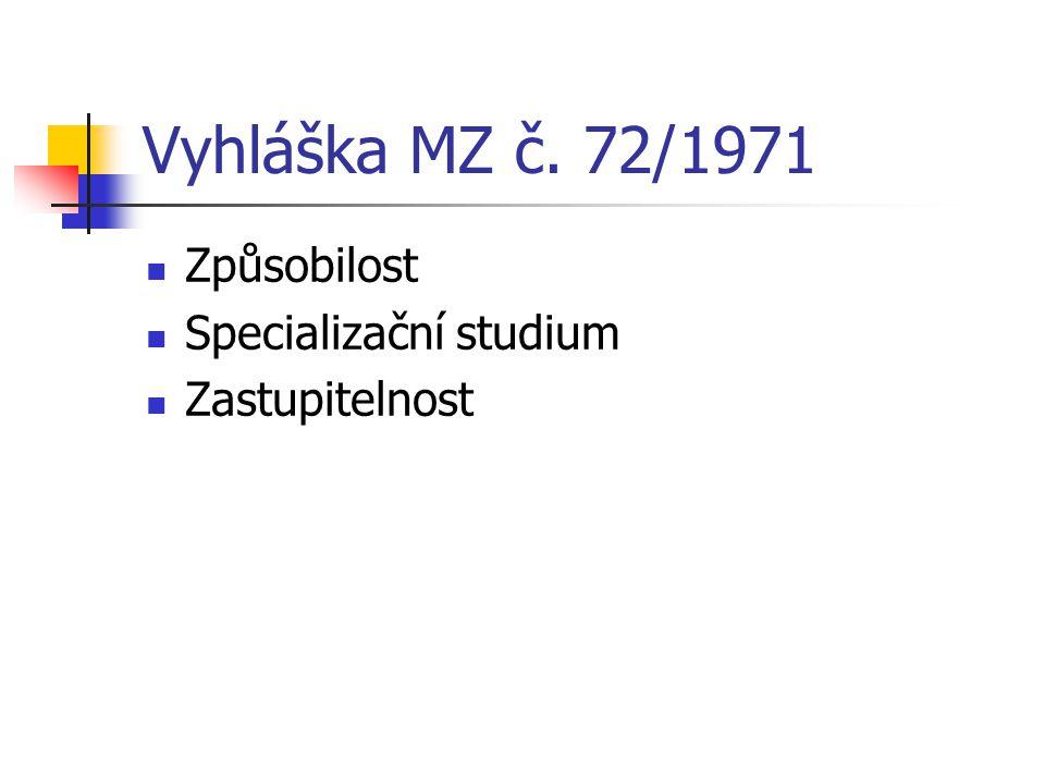 Vyhláška MZ č. 72/1971 Způsobilost Specializační studium Zastupitelnost