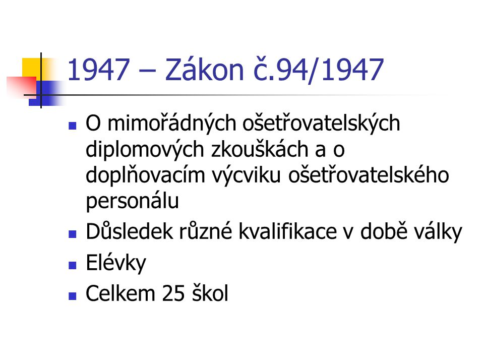 1947 – Zákon č.94/1947 O mimořádných ošetřovatelských diplomových zkouškách a o doplňovacím výcviku ošetřovatelského personálu Důsledek různé kvalifik