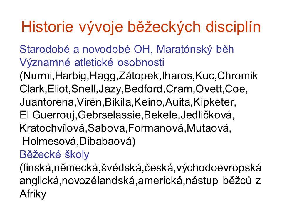 Historie vývoje běžeckých disciplín Starodobé a novodobé OH, Maratónský běh Významné atletické osobnosti (Nurmi,Harbig,Hagg,Zátopek,Iharos,Kuc,Chromik