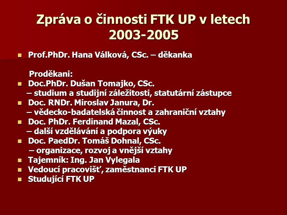 Zpráva o činnosti FTK UP v letech 2003-2005 Prof.PhDr. Hana Válková, CSc. – děkanka Prof.PhDr. Hana Válková, CSc. – děkanka Proděkani: Proděkani: Doc.