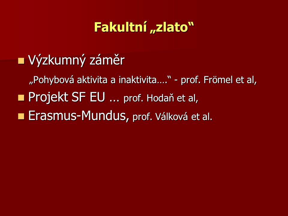"""Fakultní """"zlato"""" Výzkumný záměr Výzkumný záměr """"Pohybová aktivita a inaktivita…."""" - prof. Frömel et al, """"Pohybová aktivita a inaktivita…."""" - prof. Frö"""
