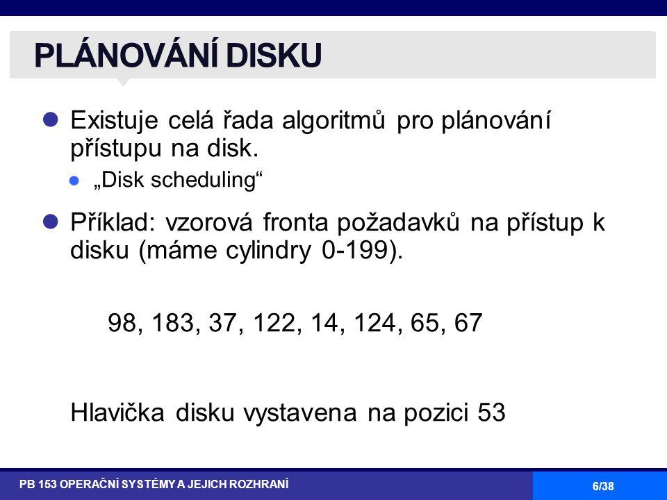 6/38 Existuje celá řada algoritmů pro plánování přístupu na disk.