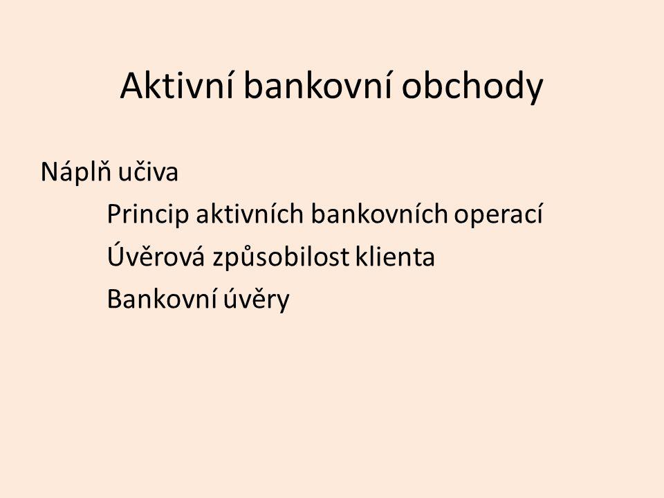 Aktivní bankovní obchody Náplň učiva Princip aktivních bankovních operací Úvěrová způsobilost klienta Bankovní úvěry