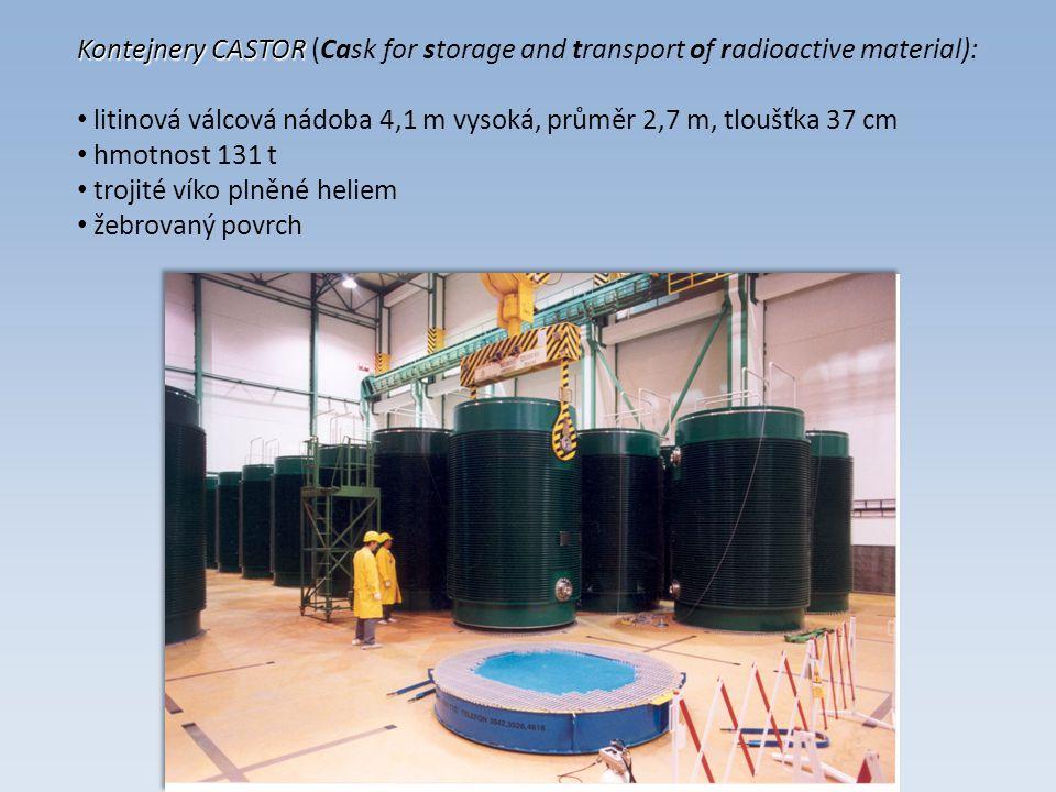 Kontejnery CASTOR Kontejnery CASTOR (Cask for storage and transport of radioactive material): litinová válcová nádoba 4,1 m vysoká, průměr 2,7 m, tloušťka 37 cm hmotnost 131 t trojité víko plněné heliem žebrovaný povrch