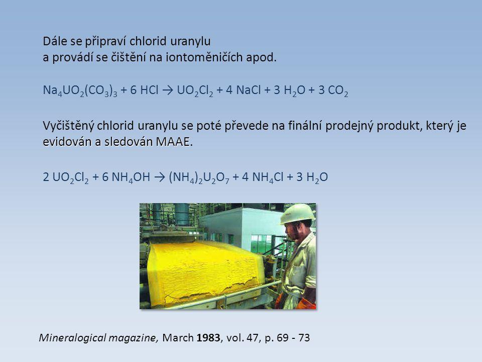 Vlastní obohacování: Diuranan amonný se tepelně rozloží na oxid, ze kterého se postupně připraví fluorid uranový.