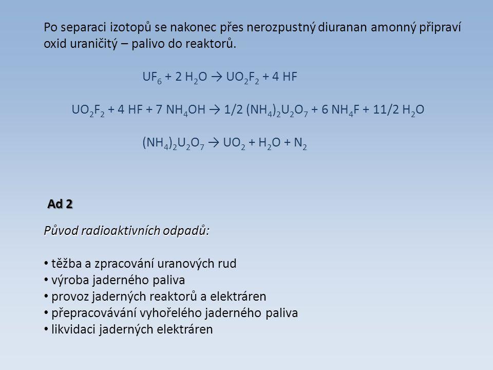 Po separaci izotopů se nakonec přes nerozpustný diuranan amonný připraví oxid uraničitý – palivo do reaktorů.
