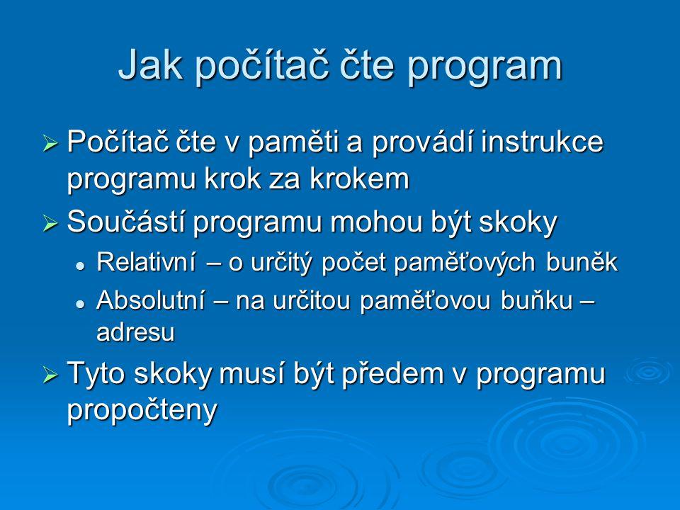 Počítačové jazyky  Nejstarší – strojový kód  Jazyk symbolických adres  strojový kód nahrazen symbolickými názvy a adresy skoků nahrazeny návěštími – slovy Snáze se programuje Snáze se programuje Program musí být kompilován Program musí být kompilován