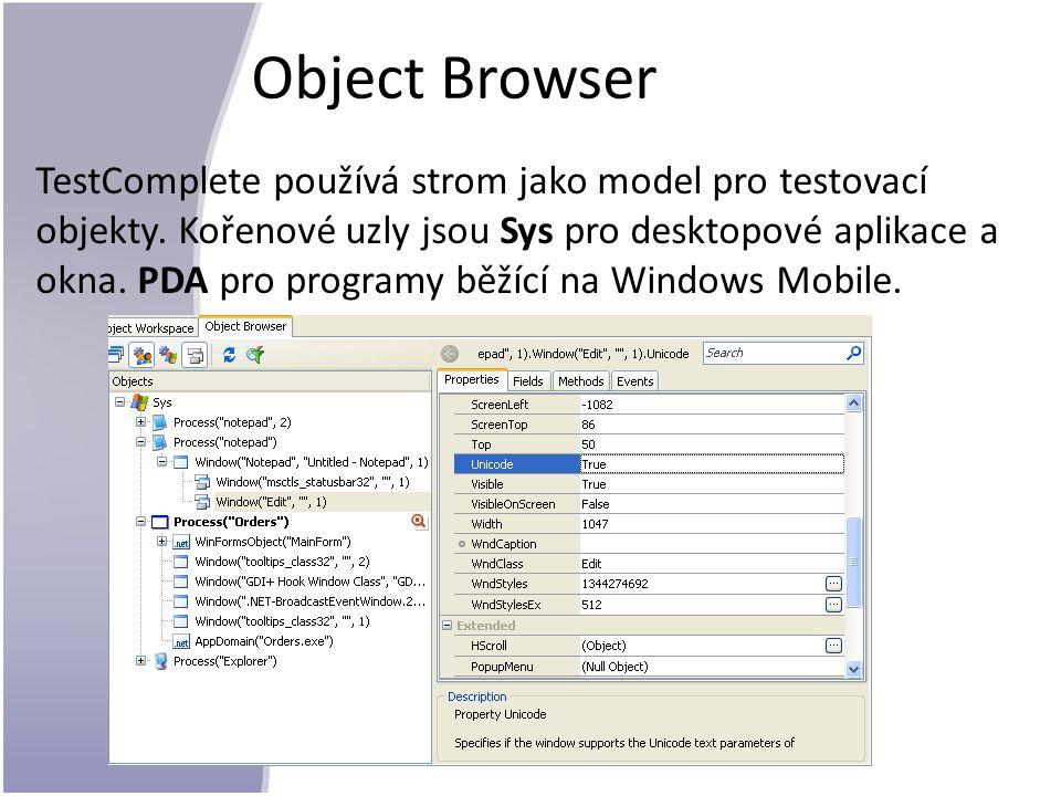Object Browser TestComplete používá strom jako model pro testovací objekty.