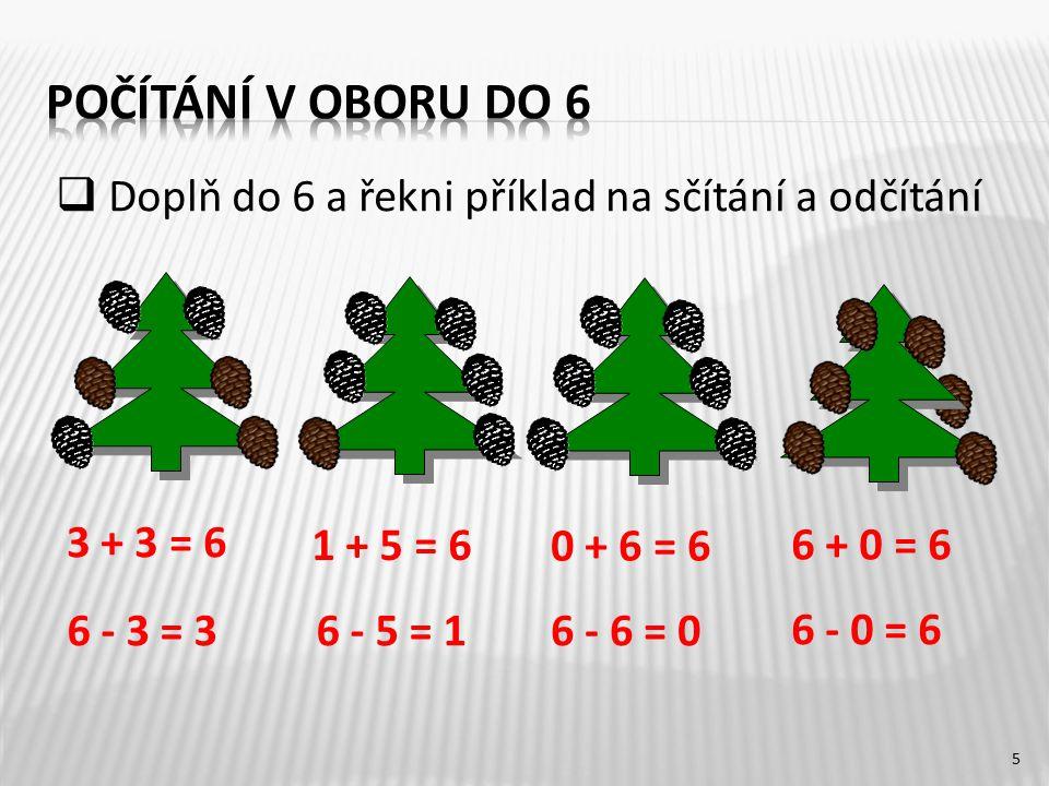 5 3 + 3 = 6 6 - 3 = 36 - 5 = 16 - 6 = 0 6 - 0 = 6 6 + 0 = 6 0 + 6 = 6 1 + 5 = 6  Doplň do 6 a řekni příklad na sčítání a odčítání