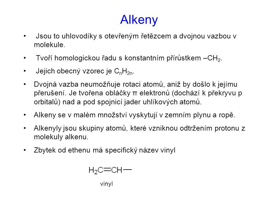 Alkeny Jsou to uhlovodíky s otevřeným řetězcem a dvojnou vazbou v molekule.