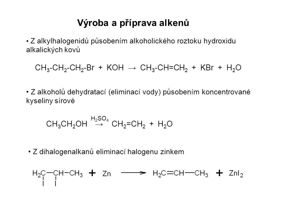Výroba a příprava alkenů Z alkylhalogenidů působením alkoholického roztoku hydroxidu alkalických kovů Z dihalogenalkanů eliminací halogenu zinkem Z alkoholů dehydratací (eliminací vody) působením koncentrované kyseliny sírové CH 3 -CH 2 -CH 2 -Br + KOH → CH 3 -CH=CH 2 + KBr + H 2 O CH 3 CH 2 OH → CH 2 =CH 2 + H 2 O H 2 SO 4