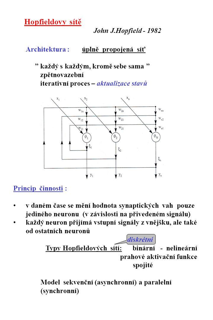 a) sekvenční model pro binární vzory - (0, 1): inicializace :  k 2 a i - 1, i  j, k = 1,...,m w ij 0, i = j  = 0.5  j w ij, j = 1,...,n pro bipolární vzory - (-1, 1): inicializace :  k 2 a i a j, i  j, k = 1,...,m w ij 0, i = j  = 0.5  j w ij, j = 1,...,n předložení vstupního vektoru a počáteční stavový vektor sítě je nastaven na hodnotu: a(0) = [a 1 (0), a 2 (0), …, a n (0)] T Iterativní proces nastavení a aktualizace elementů stavového vektoru  výpočet aktivity u i (k+1) =  j w ij a j (k) +  i j = 1,...,n