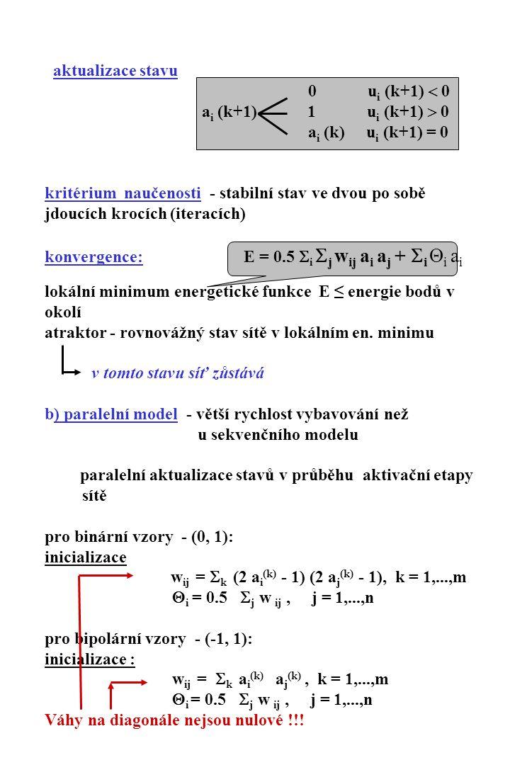  Předložení vstupního vektoru a  Stanovení aktivity neuronů  Aktualizace stavů: výpočet aktivity: viz sekvenční model u i (k+1) =  j w ij a j (k) + Θ i, j = 1,…,n aktualizace stavu: změna oproti 0 u i (k+1) > 0 sekvenčnímu a i (k+1) = 1 u i (k+1) < 0 modelu a i (k) u i (k+1) = 0 Iterativní proces stabilní stav (shoda stavů ve dvou po sobě jdoucích iteracích) Konvergence: aktualizace jedné složky stavového vektoru v každém kroku změna energetické funkce (viz sekvenční model) Vícerozměrné Hopfieldovy sítě: vícerozměrné paměťové struktury pro vysoce kapacitní paměťové systémy