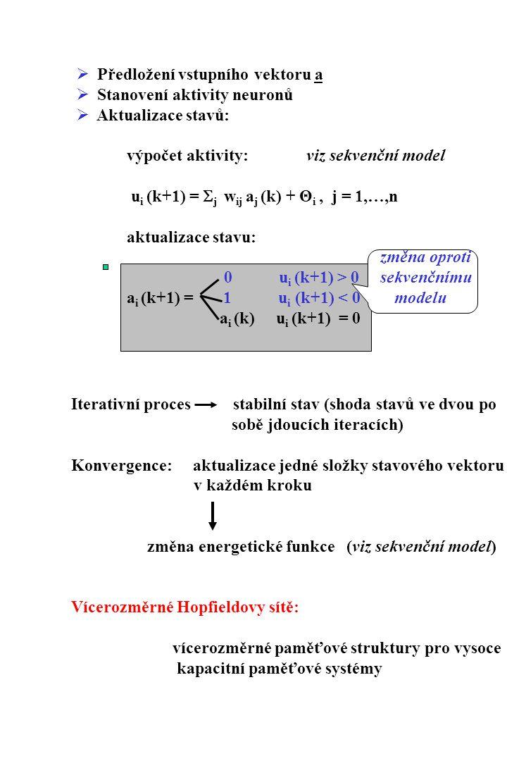  Předložení vstupního vektoru a  Stanovení aktivity neuronů  Aktualizace stavů: výpočet aktivity: viz sekvenční model u i (k+1) =  j w ij a j (k)