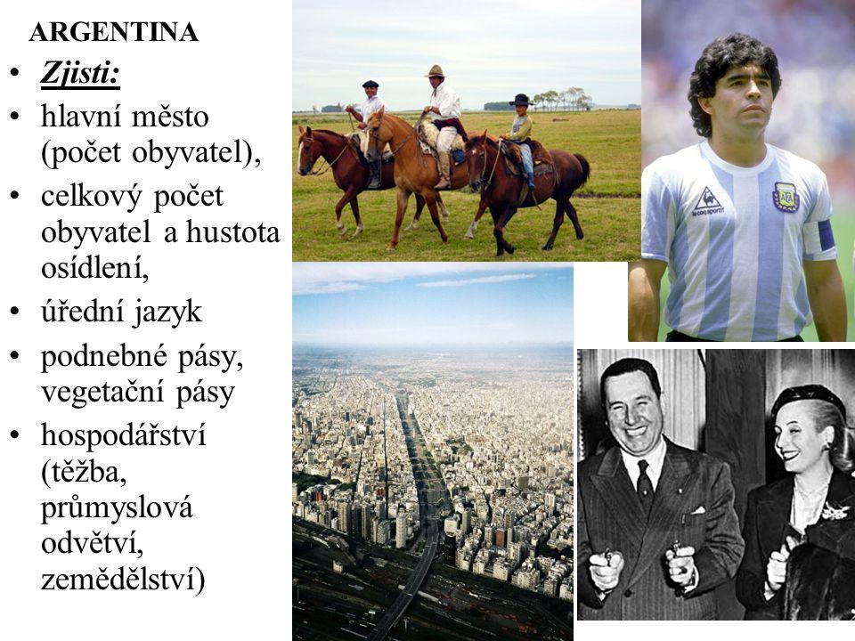 ARGENTINA Zjisti: hlavní město (počet obyvatel), celkový počet obyvatel a hustota osídlení, úřední jazyk podnebné pásy, vegetační pásy hospodářství (těžba, průmyslová odvětví, zemědělství)