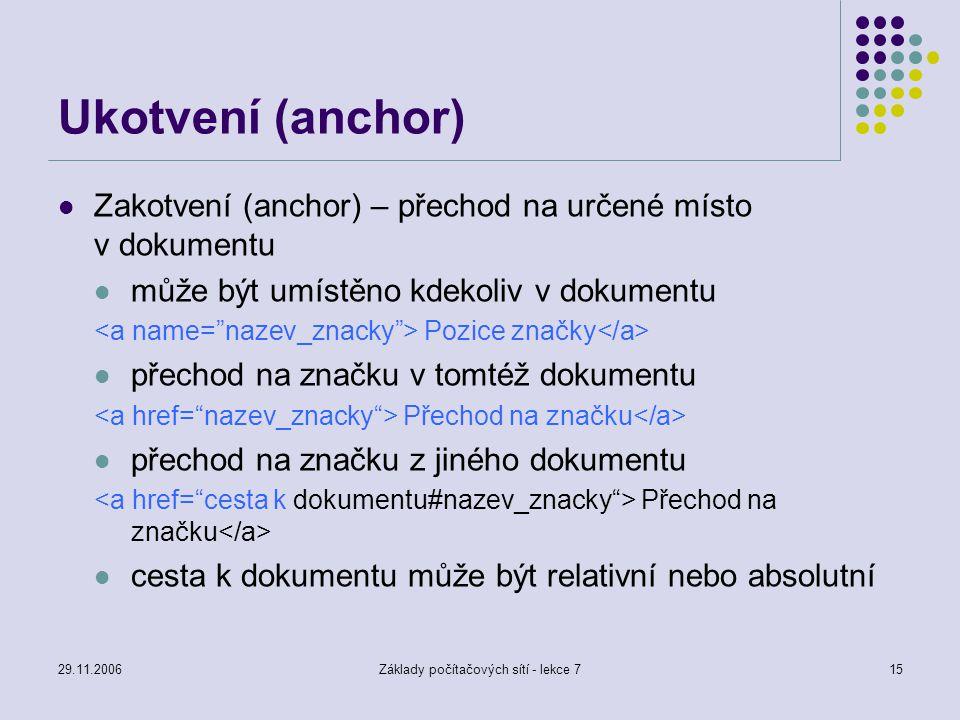 29.11.2006Základy počítačových sítí - lekce 715 Ukotvení (anchor) Zakotvení (anchor) – přechod na určené místo v dokumentu může být umístěno kdekoliv