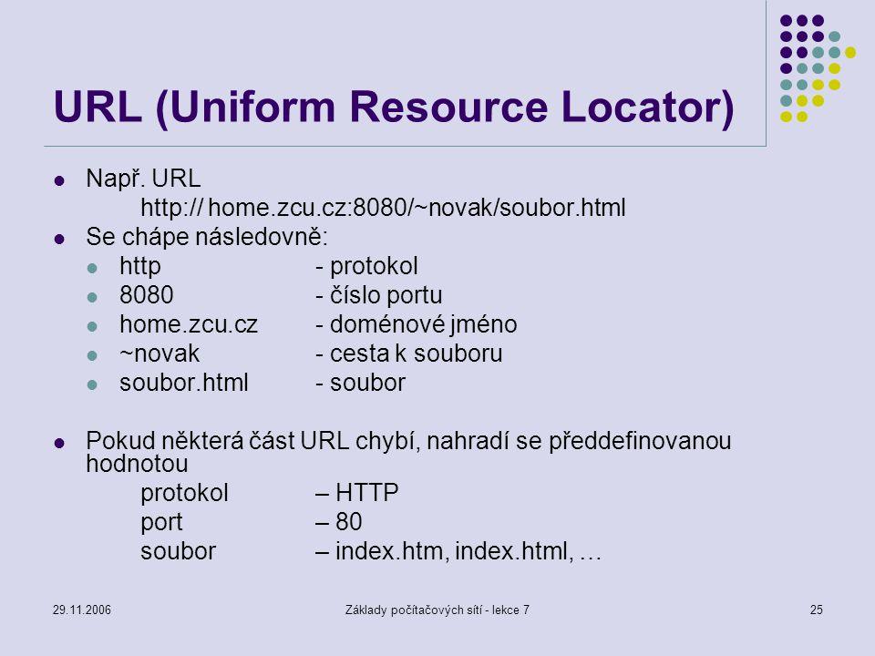 29.11.2006Základy počítačových sítí - lekce 725 URL (Uniform Resource Locator) Např. URL http:// home.zcu.cz:8080/~novak/soubor.html Se chápe následov
